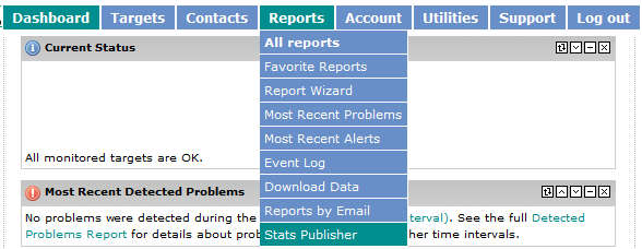 Reports -> Stats Publisher