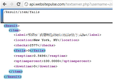 WebSitePulse API in Google Drive