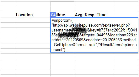 WebSitePulse API in Google Sheets