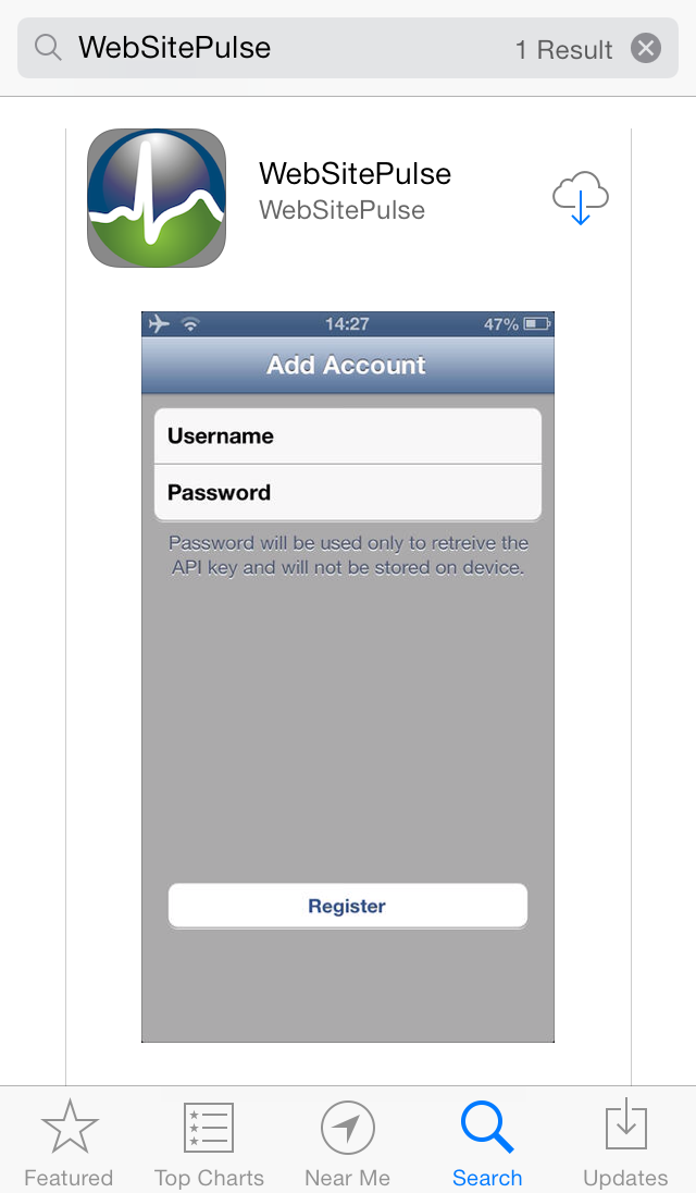 Current Status application for iOS log in screen