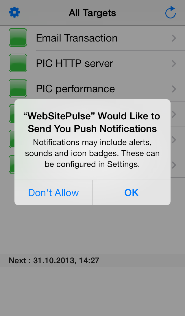 Push notifications option