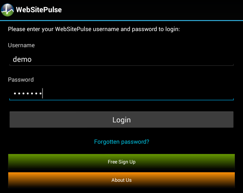 Current Status Application for Android log in screen