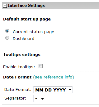 Interface settings