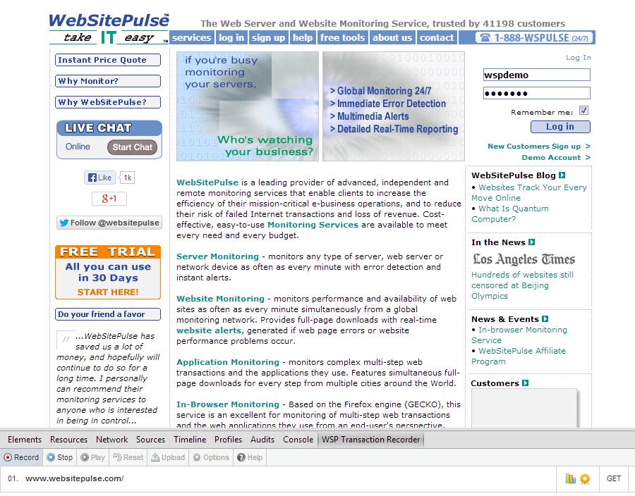 WebSitePulse home page
