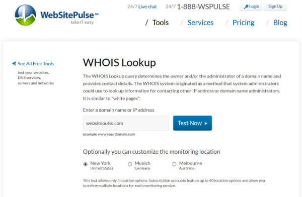 WebSitePulse WhoIs tool